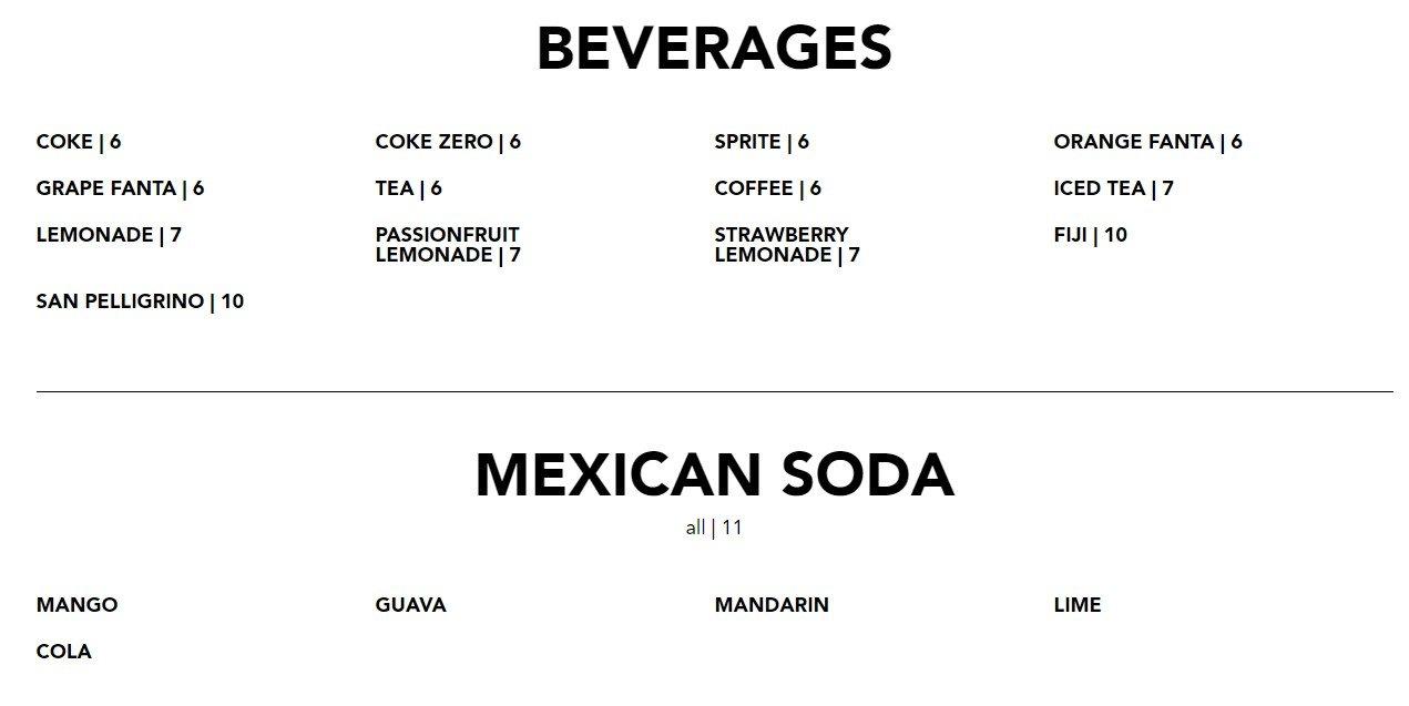 Blacktap Menu Beverages and Soda