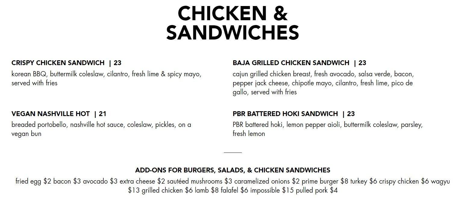 Blacktap Menu Chicken and Sandwiches