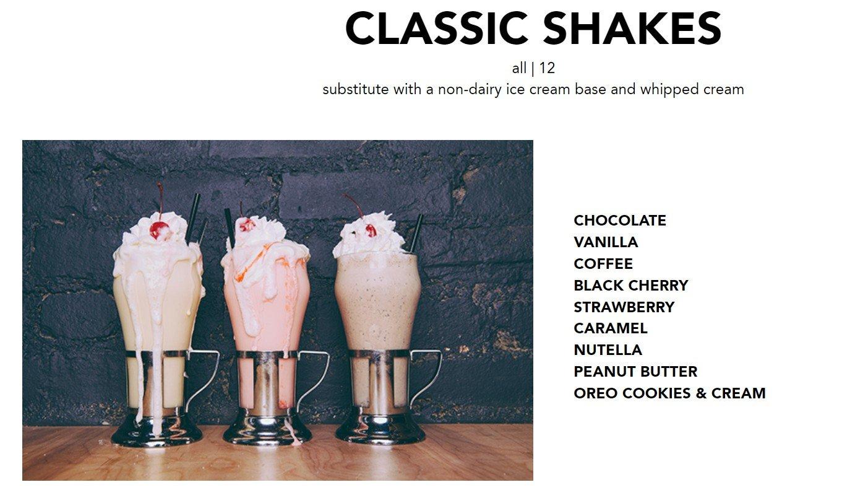 Blacktap Menu Classic Shakes