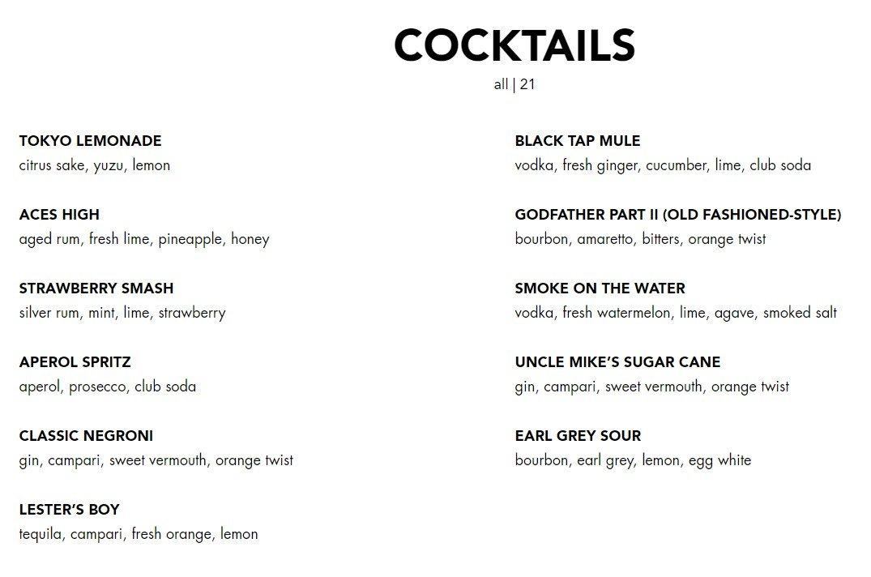 Blacktap Menu Cocktails