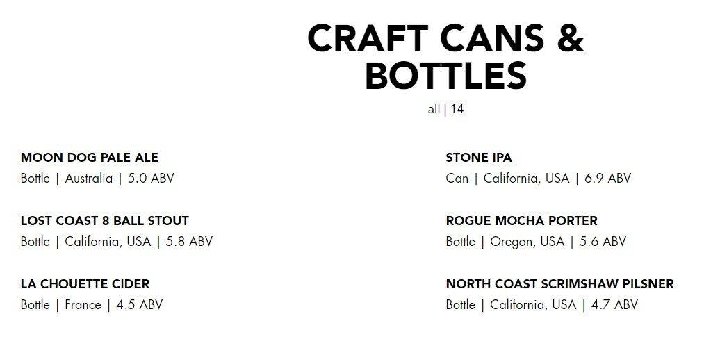 Blacktap Menu Craft Cans and Bottles