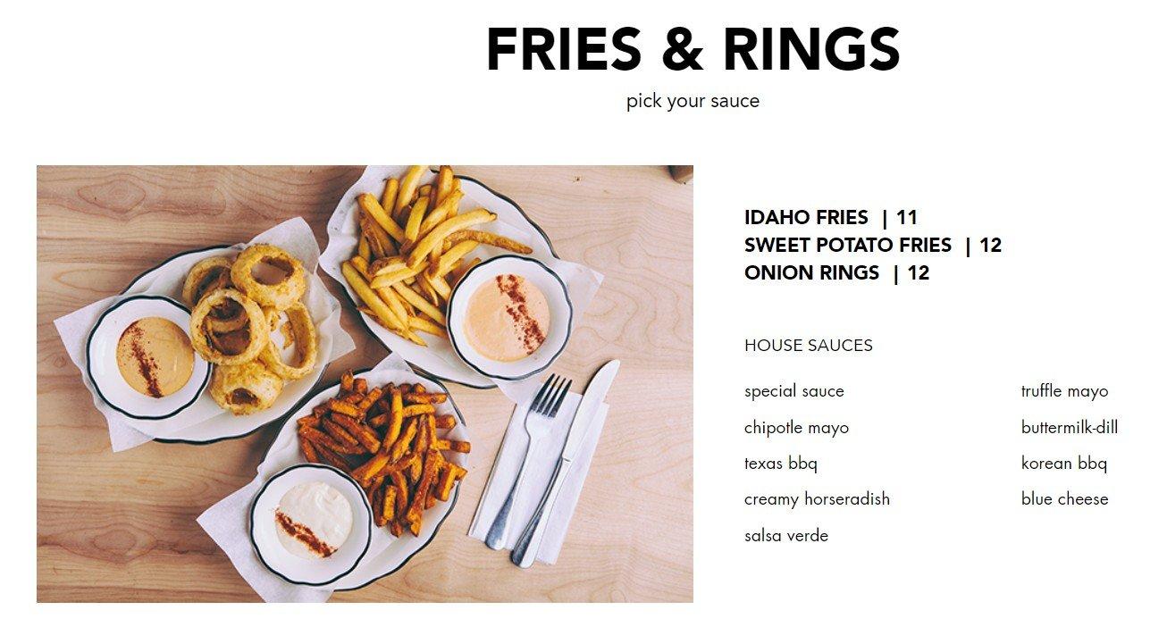 Blacktap Menu Fries and Rings