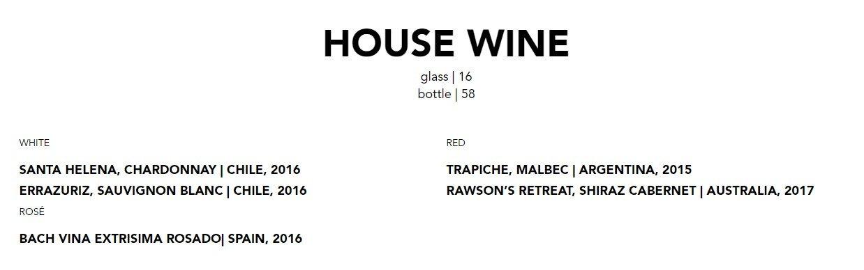 Blacktap Menu House Wine