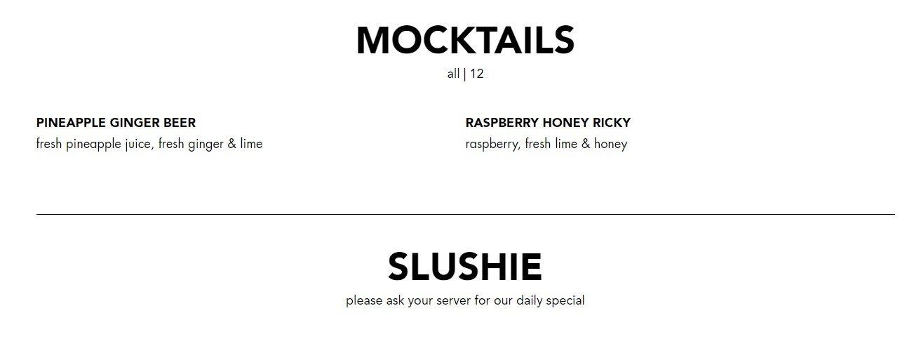Blacktap Menu Mocktails and Slushie