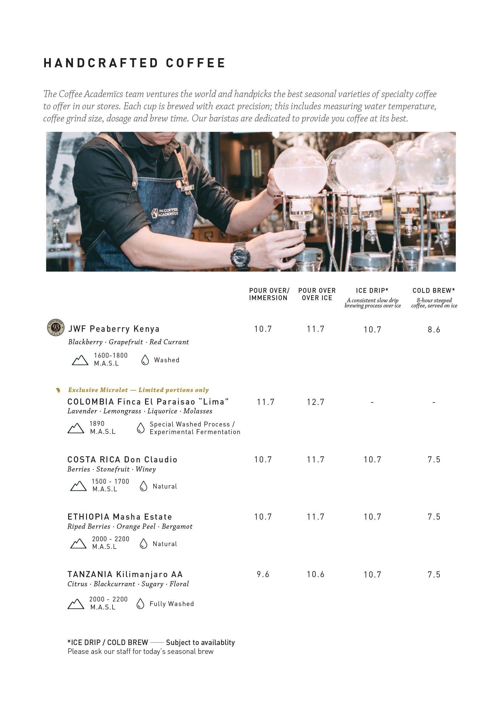Coffee Academics Menu 6