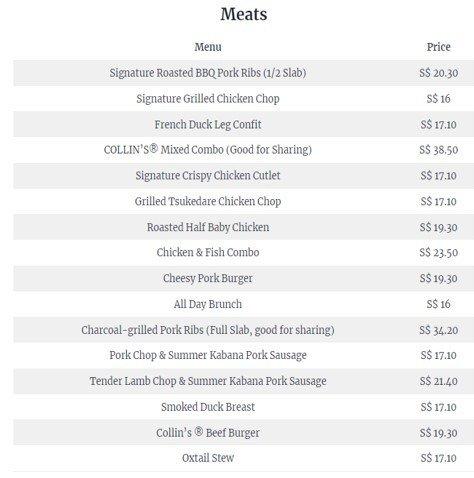 Collins Menu : Collins Menu  & Prices (2021)