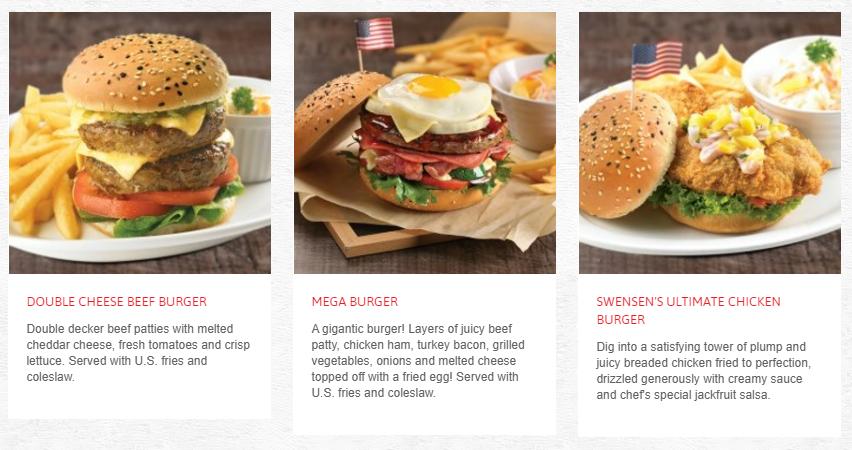Swensens Menu Burgers and Rolls