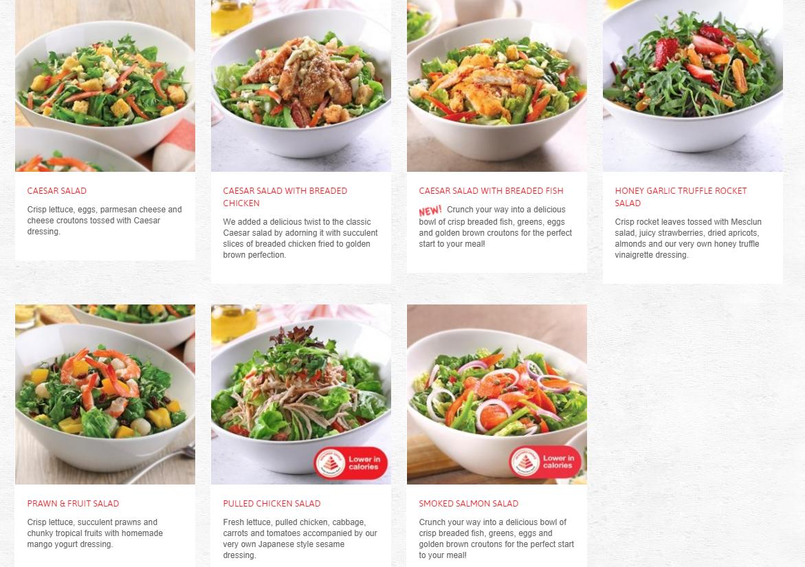 Swensens Menu Salad