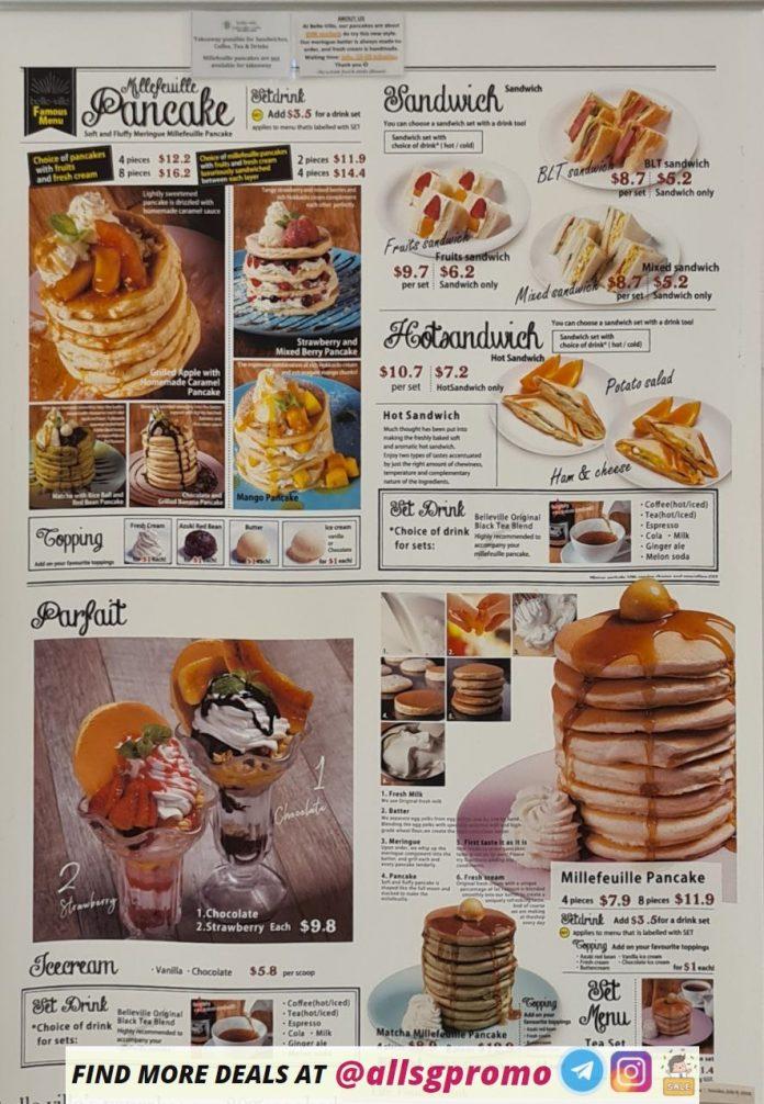 belle ville pancake cafe menu main