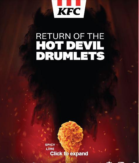 kfc hot devil drumlets Aug 2020