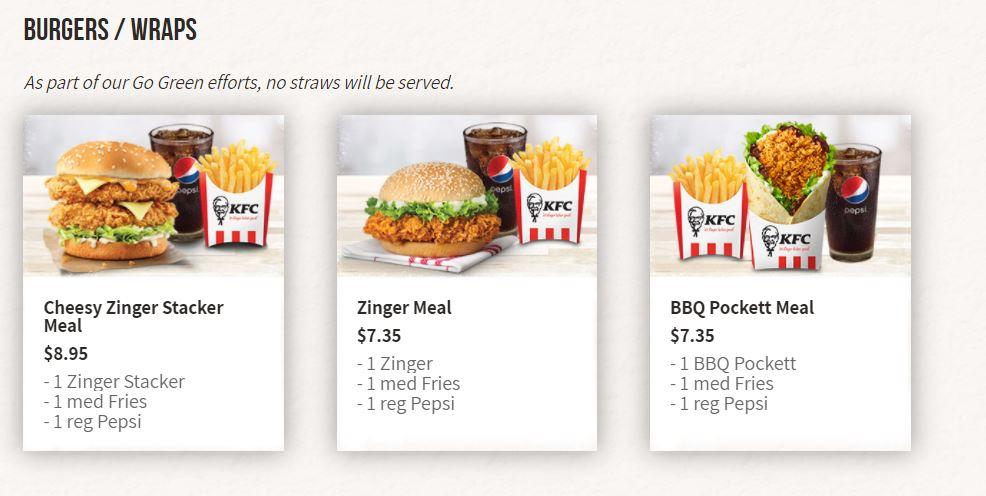 kfc menu burgers and wraps