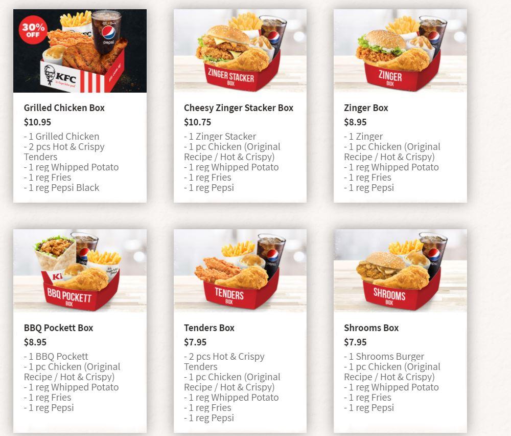 kfc menu kfc boxes