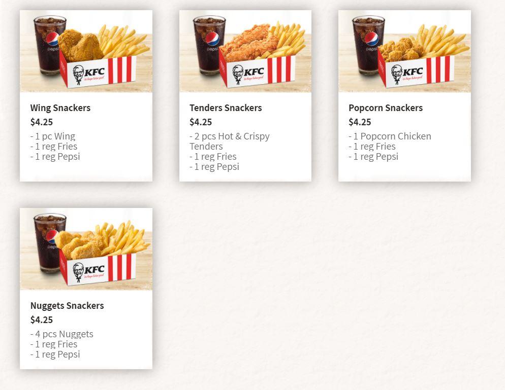 kfc menu nuggets fries and wings