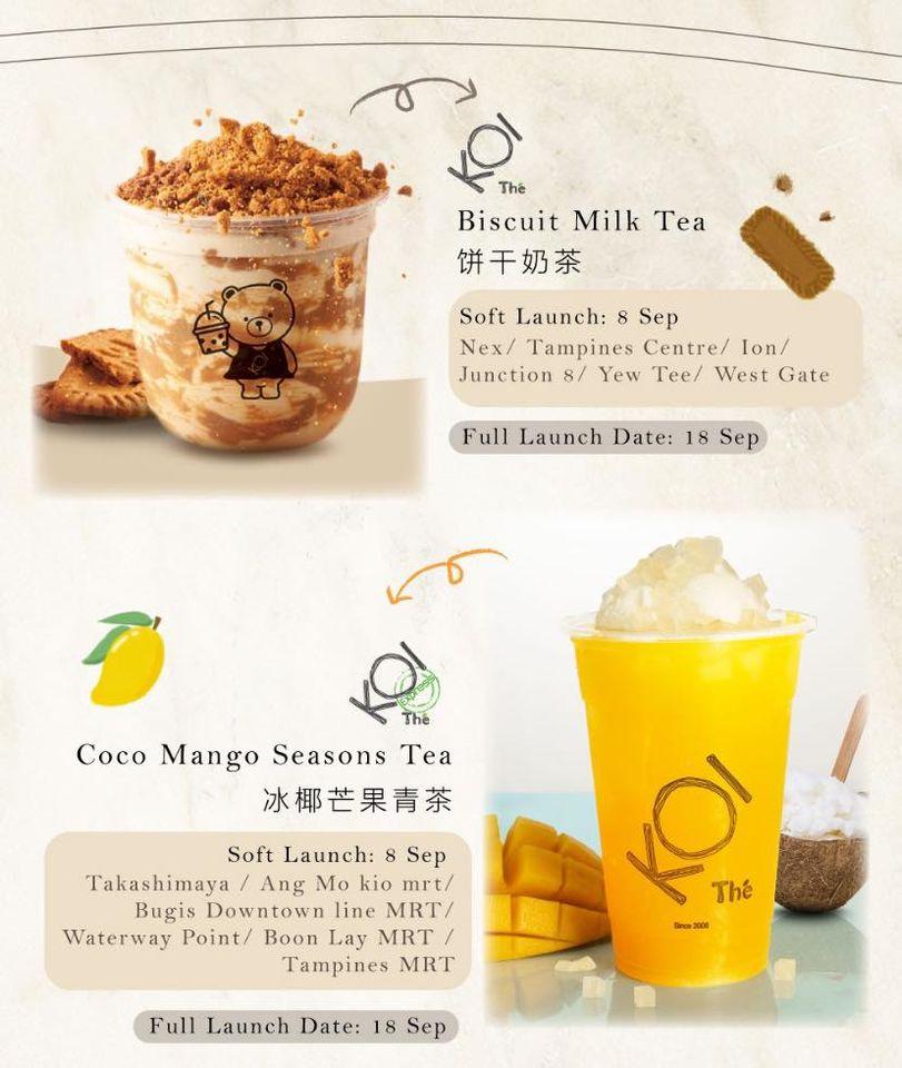 koi biscuit and mango milk tea
