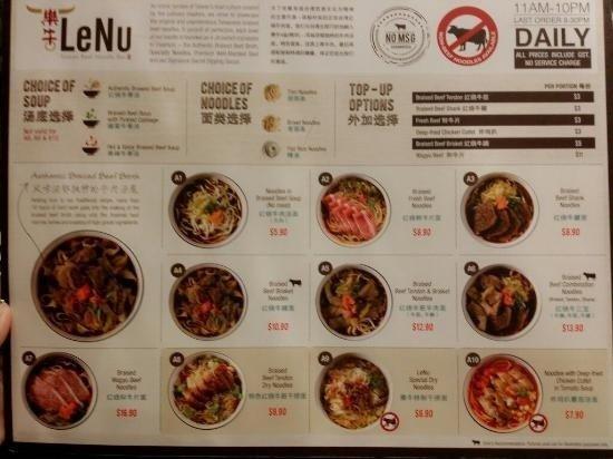 lenu menu noodle bar