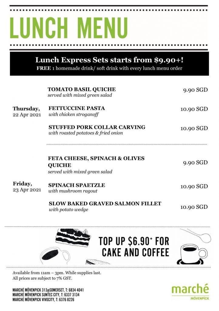 marche menu lunch April 2