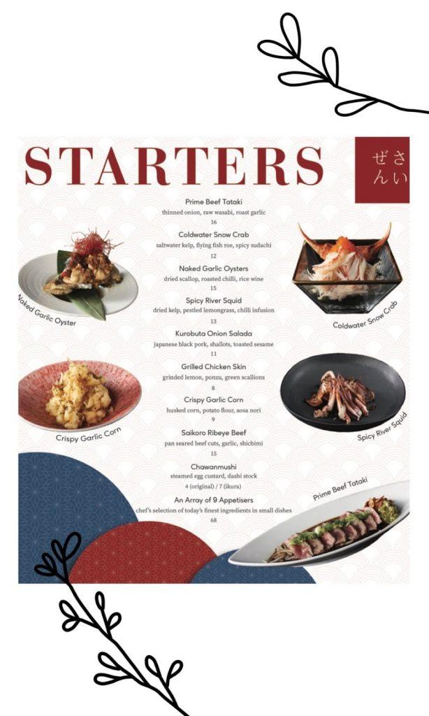 omote menu starters