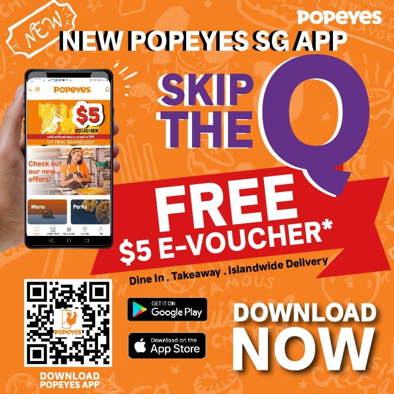 popeyes free 5 voucher