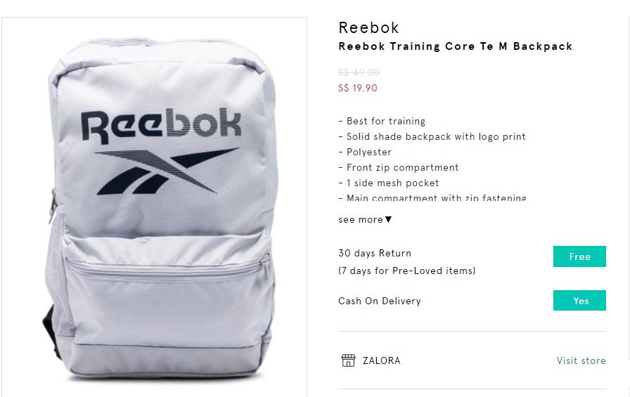 reebok training bag