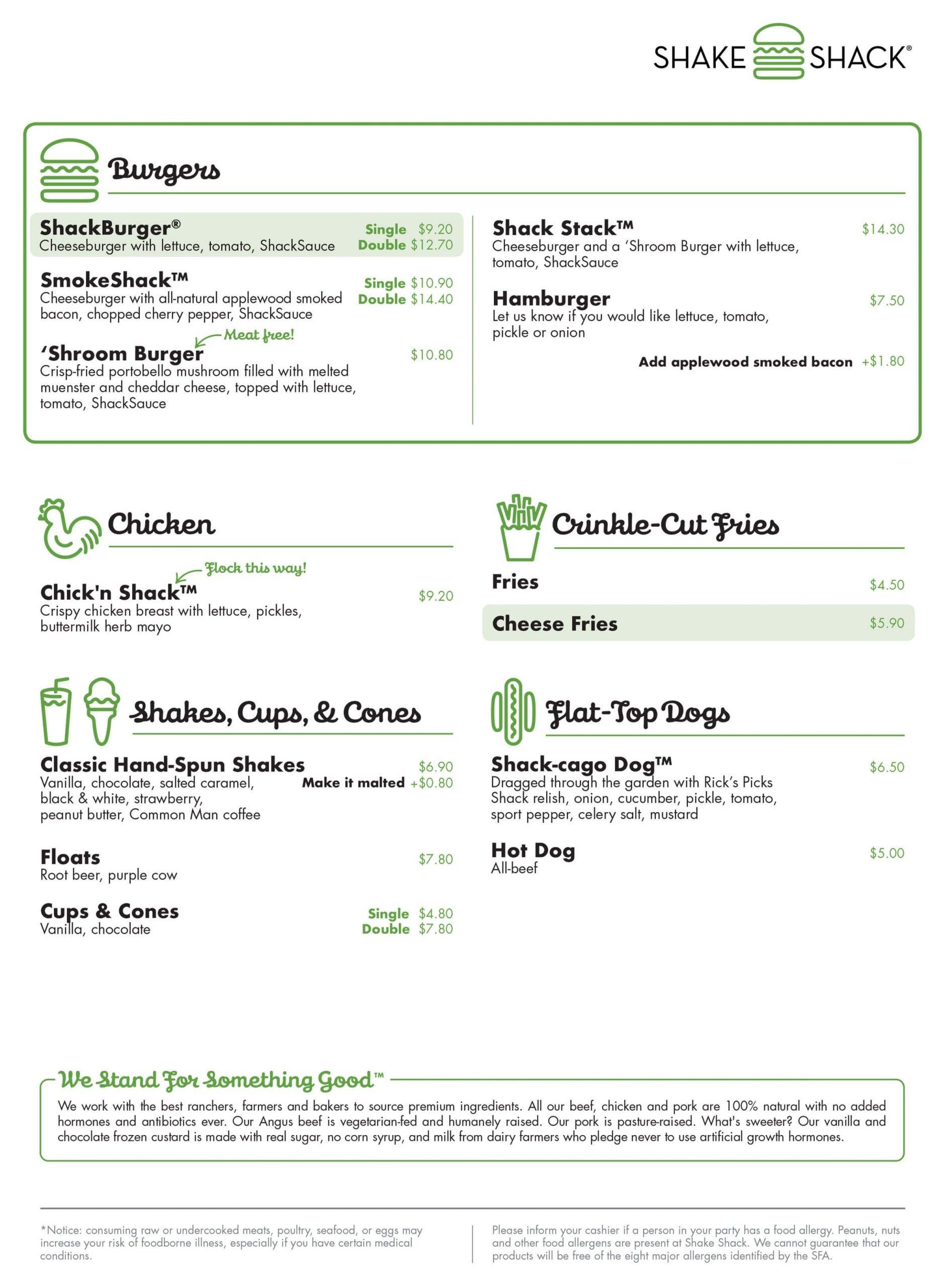 shake shack menu vivo city