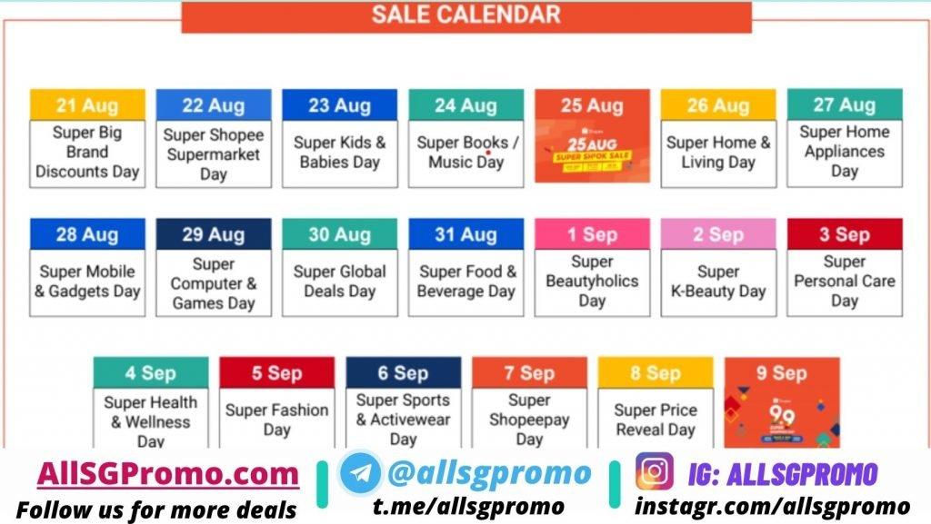 shopee . sale calendar day