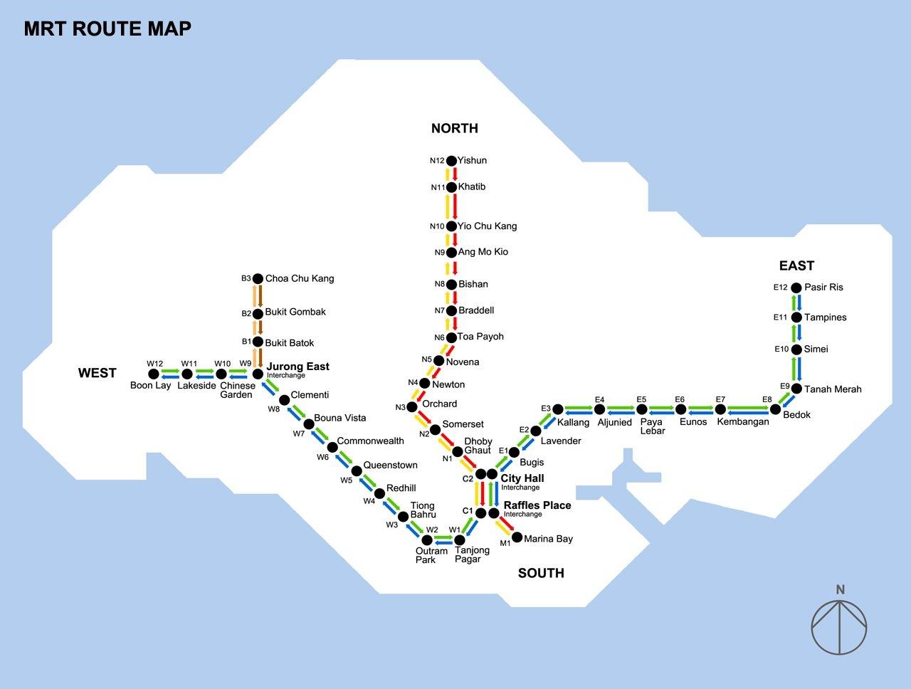singapore mrt map 1990
