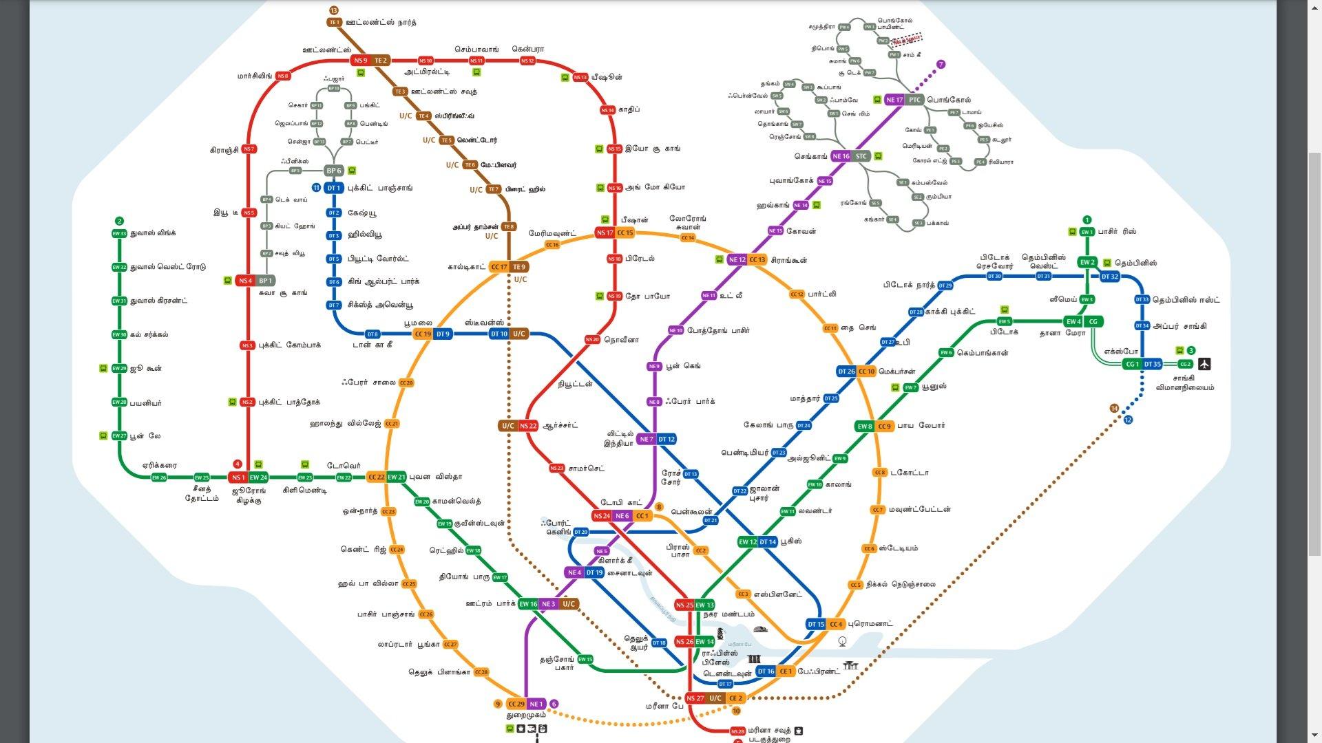 singapore mrt map 2020 Indian language