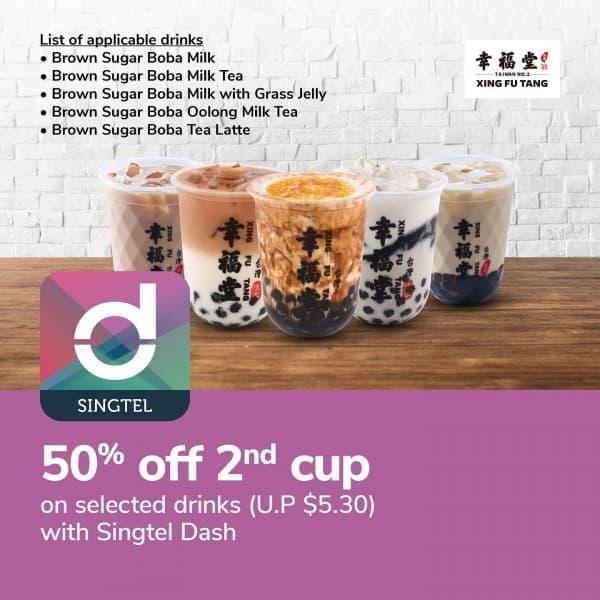 singtel xingfu tang 50 off 2nd drink