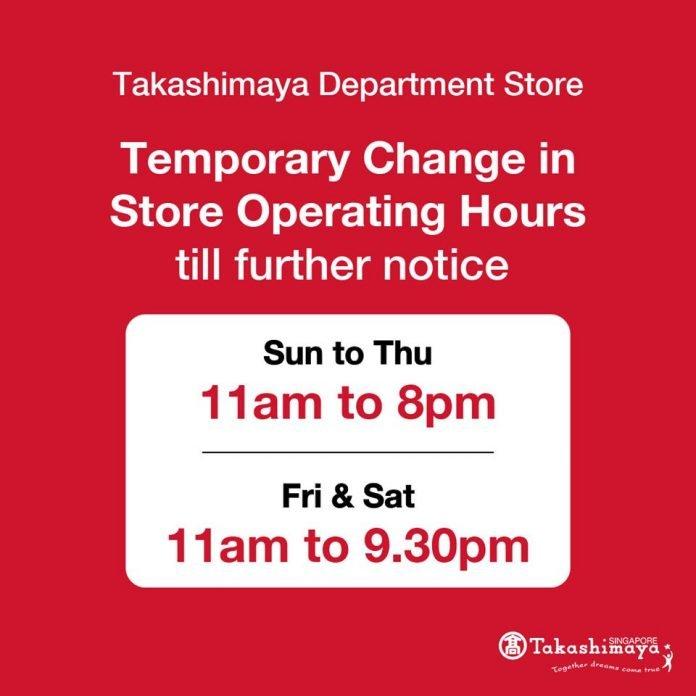 takashimaya store hours extend