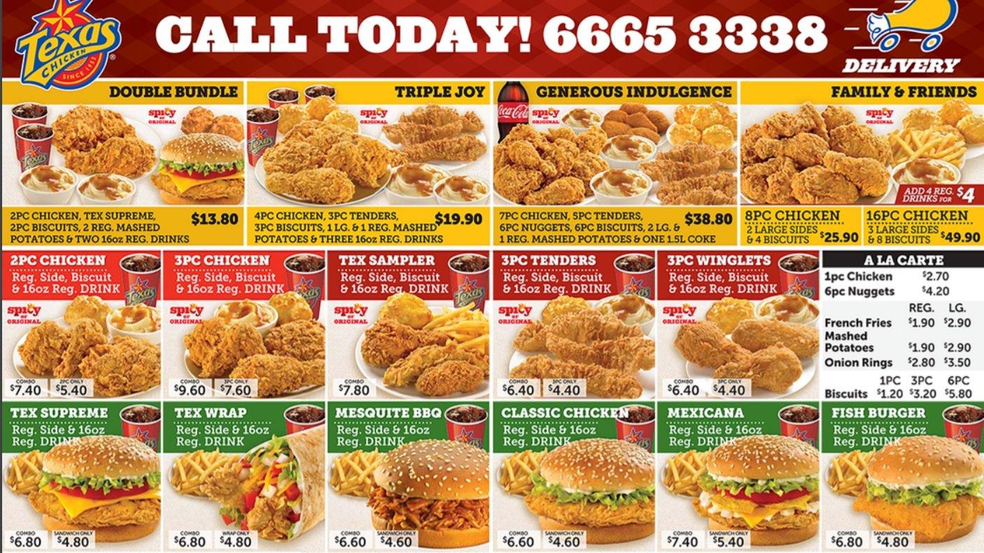 texas chicken delivery menu