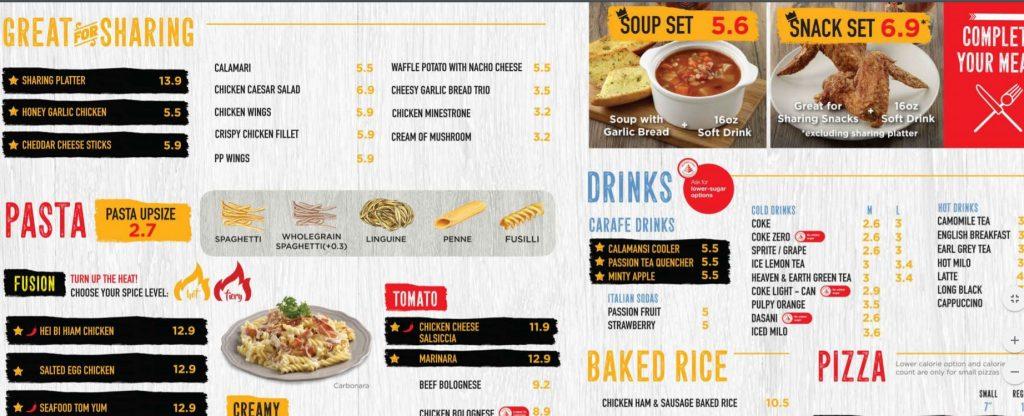 weekday lunch pasta mania menu