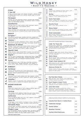 wild honey menu breakfast