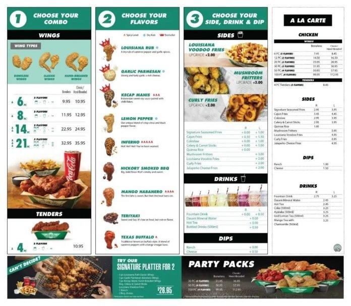 wingstop menu fried chicken