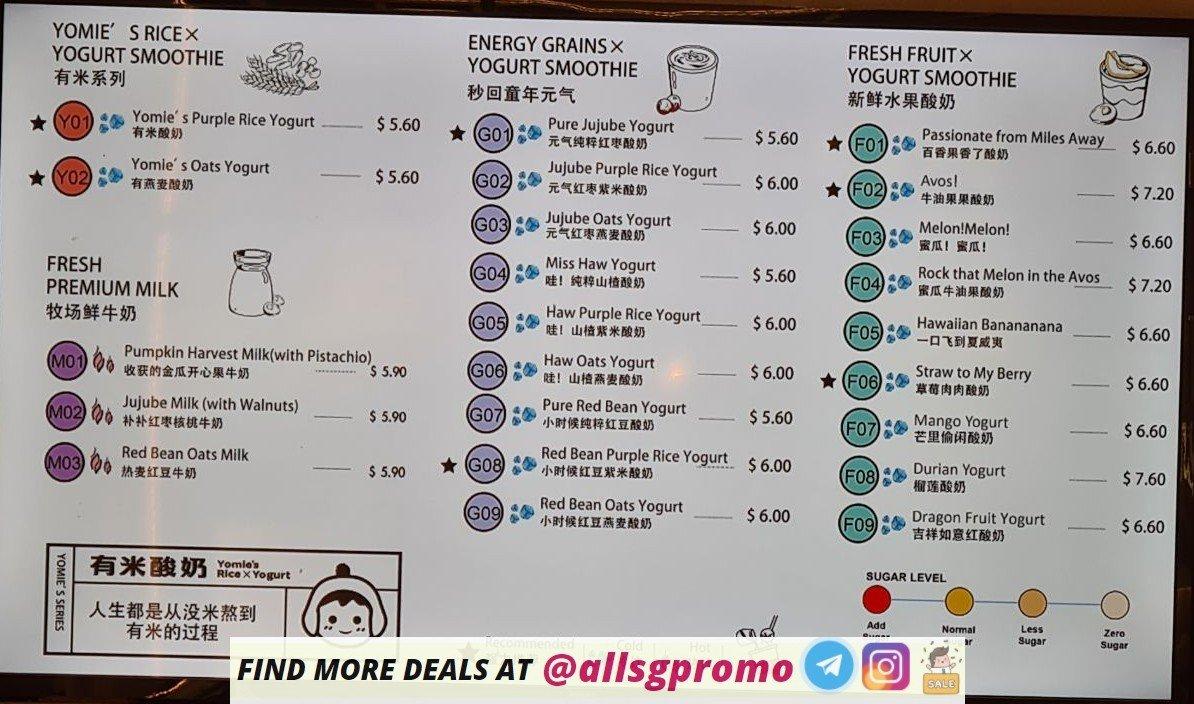 yomie rice yoghurt menu 1