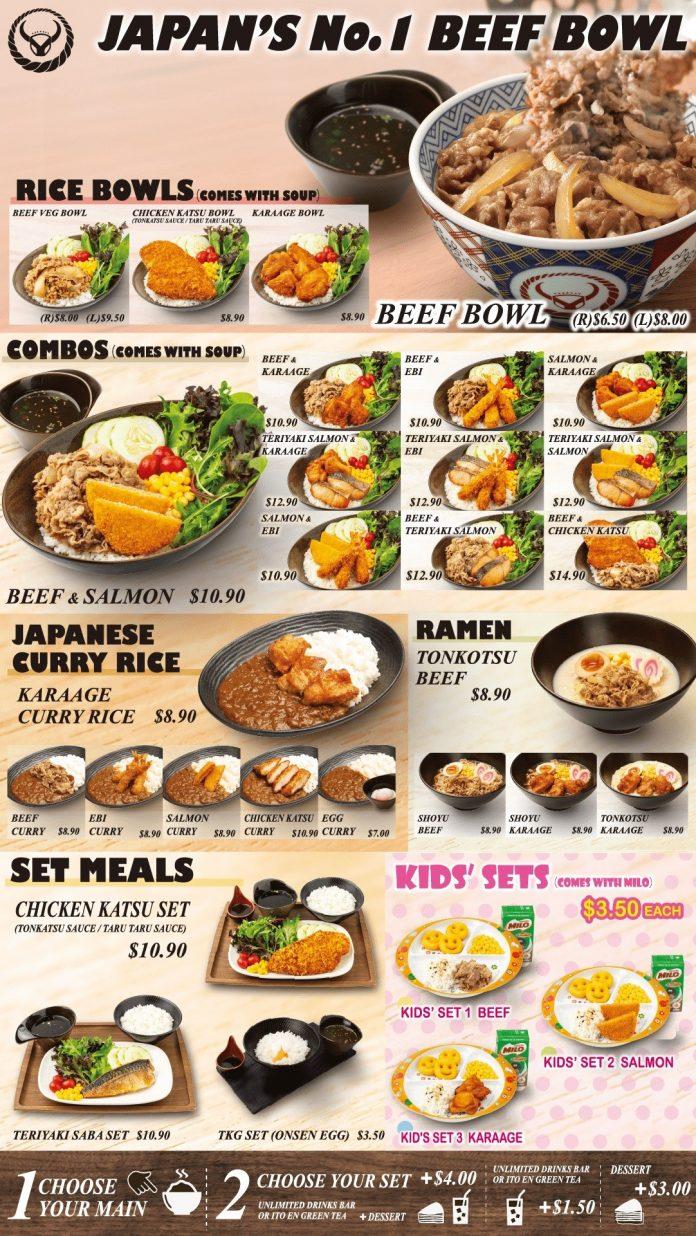 yoshinoya menu beef bowl